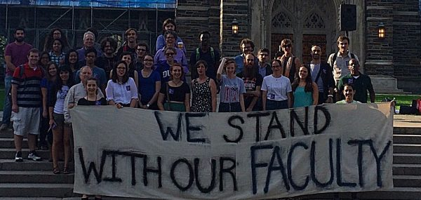 In this Duke Faculty Union history milestone, students support faculty by leading a speak-out.