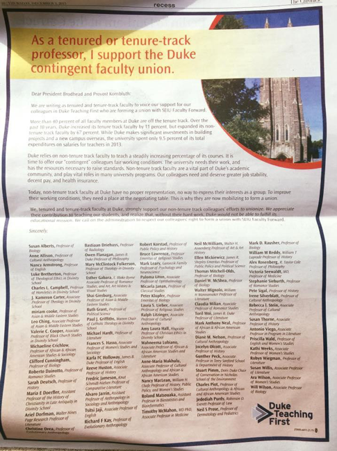 In this Duke Faculty Union History Milestone, Tenured Professors Express Solidarity
